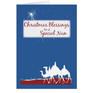 Christmas Blessings Catholic Nun, Nativity Greeting Card