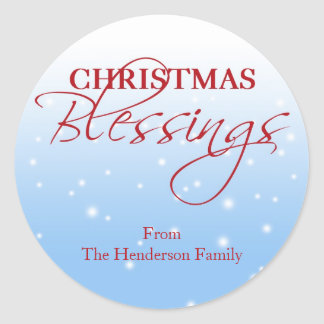 Christmas Blessings falling snow holiday gift tag Round Stickers