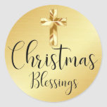 "Christmas Blessings Gold Sticker with Cross<br><div class=""desc"">A beautiful gold sticker for a religious person of faith. A modern gold cross sits on a gold background. Christmas Blessings is written in a beautiful light and airy script. Perfect way to keep the focus on the real meaning of Christmas. I appreciate you stopping by my store, Celebrais. Wishing...</div>"