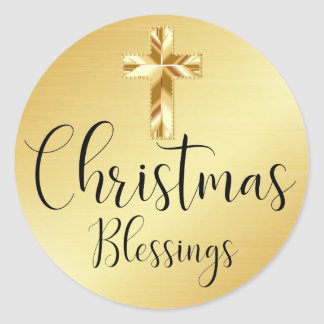Christmas Blessings Gold Sticker with Cross
