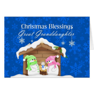 Christmas Blessings Great Granddaughter Greeting Card