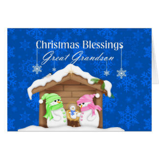 Christmas Blessings Great Grandson Greeting Card
