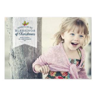 "Christmas Blessings   Holiday Photo Card 5"" X 7"" Invitation Card"