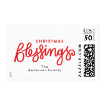 Christmas Blessings Lettering Holiday Stamp