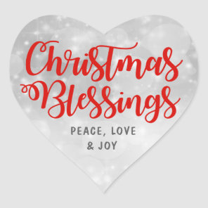 Christmas Blessings Peace, Love Joy Heart Sticker