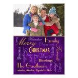 Christmas Blessings Retro Purple Holiday Card