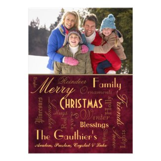 Christmas Blessings Retro Red Holiday Card
