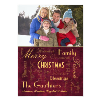 "Christmas Blessings Retro Red Holiday Card 5"" X 7"" Invitation Card"