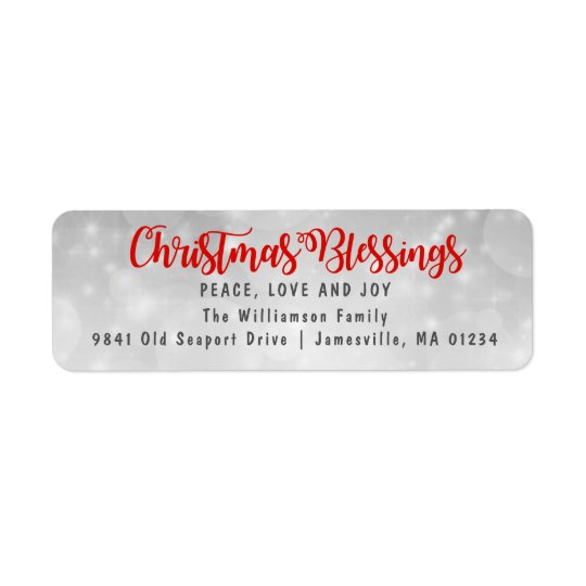 christmas blessings return address labels red zazzle com