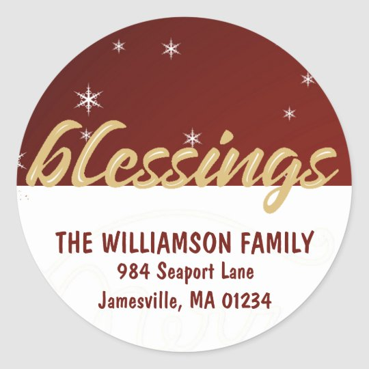 Christmas Blessings Round Return Address Labels