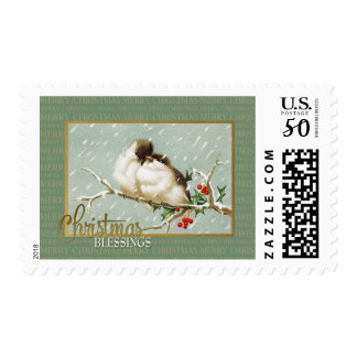Christmas Blessings SnowBirds Vintage Reproduction Postage