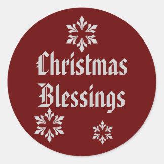 """Christmas Blessings"" Snowflake Trio [1] Classic Round Sticker"