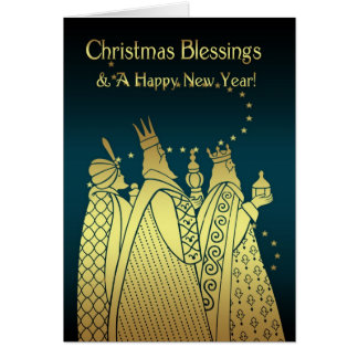 Christmas Blessings - Three Wise Men - Gold Effect Greeting Card