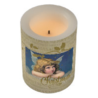 Christmas Blessings Vintage Angel Flameless Candle
