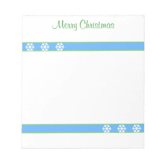Christmas Blue and Green Stripes and Snowflakes Note Pad