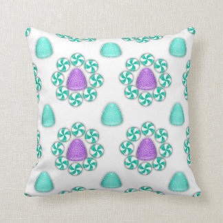 Christmas Blue and Purple Gumdrops Throw Pillow