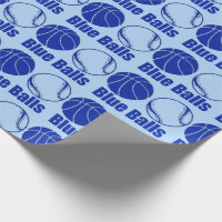 Christmas BLUE BALLS BASKETBALL xmas humor Wrapping Paper