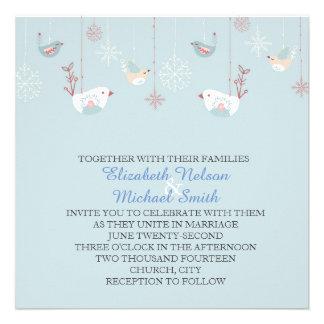 Christmas Blue Birds Wedding Invite