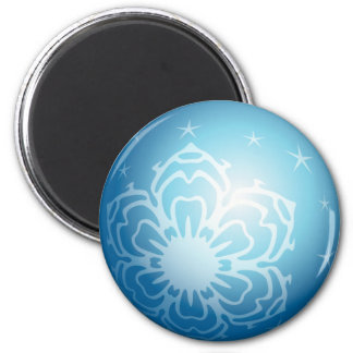 Christmas Blue Bubble Snowflakes & Stars 2 Inch Round Magnet