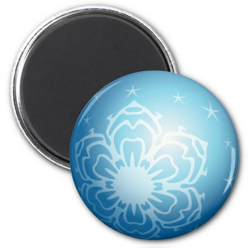 Christmas Blue Bubble Snowflakes & Stars Refrigerator Magnet