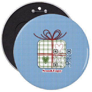 Christmas Blue checkered button with funny video