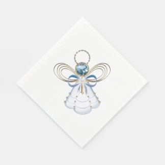 Christmas Blue Filigree Angel of Faith - Holiday Paper Napkin