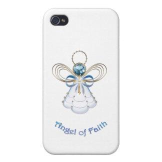 Christmas Blue Filigree Angel of Faith iPhone 4/4S Case