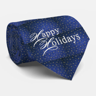 Christmas Blue Glitter Happy Holidays Men's Tie