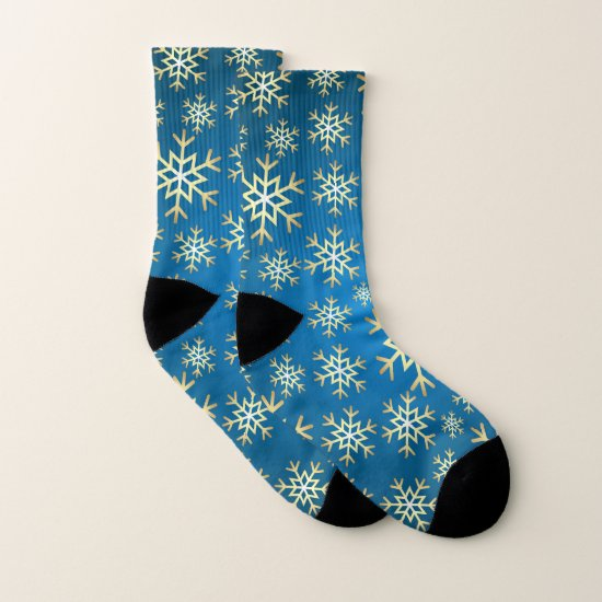 Christmas blue gold snowflake pattern socks