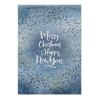 Christmas blue leaves poster