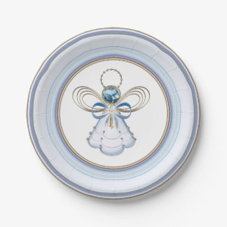 Christmas Blue Metallic Filigree Angel of Faith Paper Plate