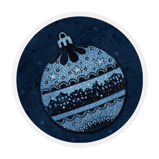 Christmas Blue Ornament -Edible Frosting Edible Frosting Rounds