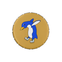 Christmas Blue Penguin with Silver Ice Skates Candy Tin