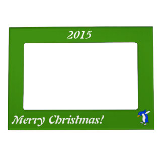 Christmas Blue Penguin with Silver Ice Skates Magnetic Frame