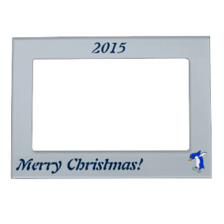 Christmas Blue Penguin with Silver Ice Skates Magnetic Photo Frame