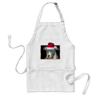 Christmas blue pitbull puppy adult apron