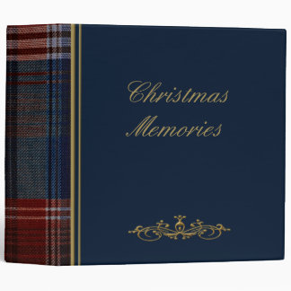 "Christmas Blue Plaid 2"" Photo Album 3 Ring Binder"