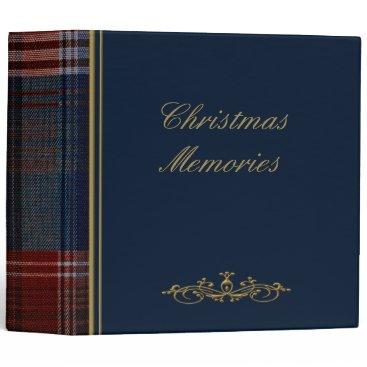 "Christmas Themed Christmas Blue Plaid 2"" Photo Album 3 Ring Binder"