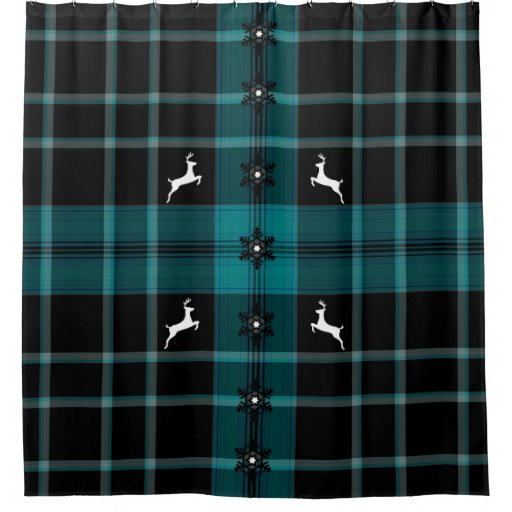 Christmas Blue Raindeer Shower Curtain