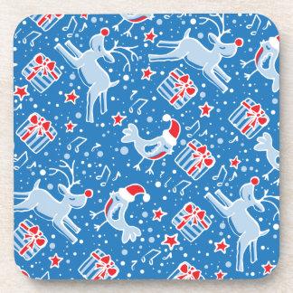 Christmas blue reindeer bird set of 6 coasters