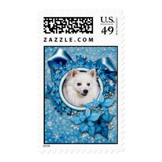 Christmas - Blue Snowflake - American Eskimo Stamp