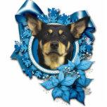 Christmas - Blue Snowflake - Australian Kelpie Photo Sculpture Ornament