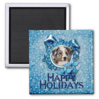 Christmas - Blue Snowflake - Australian Shepherd 2 Inch Square Magnet