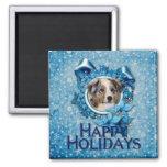 Christmas - Blue Snowflake - Australian Shepherd Magnets