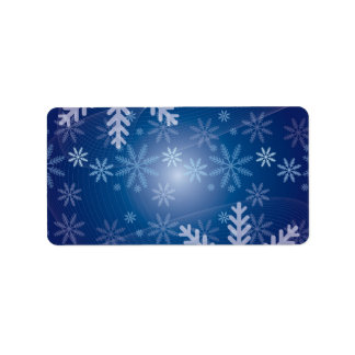 Christmas Blue Snowflake Background Labels