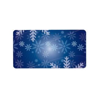 Christmas Blue Snowflake Background Label
