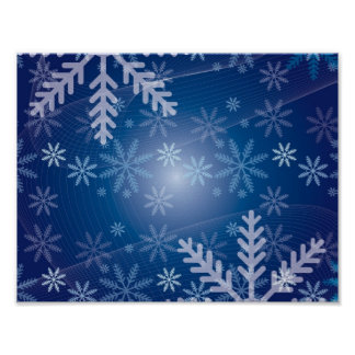 Christmas Blue Snowflake Background Poster