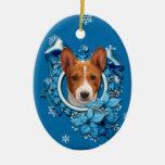 Christmas - Blue Snowflake - Basenji Christmas Ornament