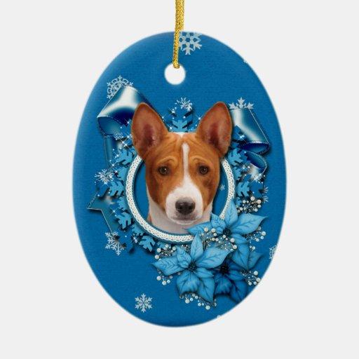 Christmas - Blue Snowflake - Basenji Double-Sided Oval Ceramic Christmas Ornament