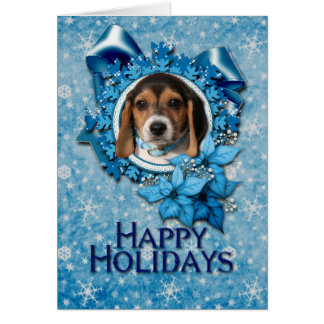 Christmas - Blue Snowflake - Beagle Puppy Greeting Card